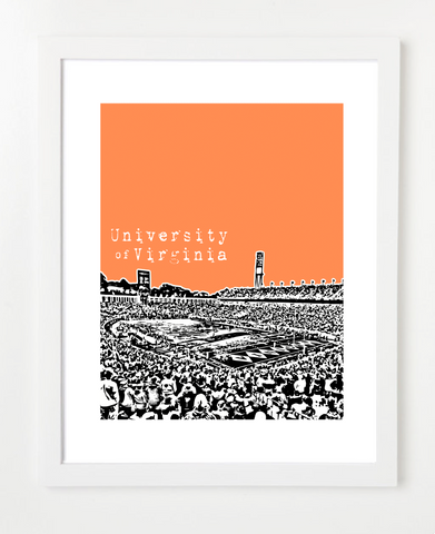University of Virginia Cavaliers Scott Stadium Skyline Art Print and Poster | By BirdAve Posters