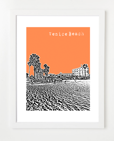 Venice Beach California USA Skyline Art Print and Poster | By BirdAve Posters