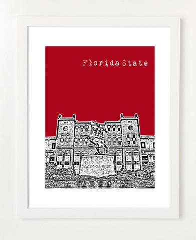 Florida State University Doak Campbell Stadium Skyline Art Print and Poster | By BirdAve Posters