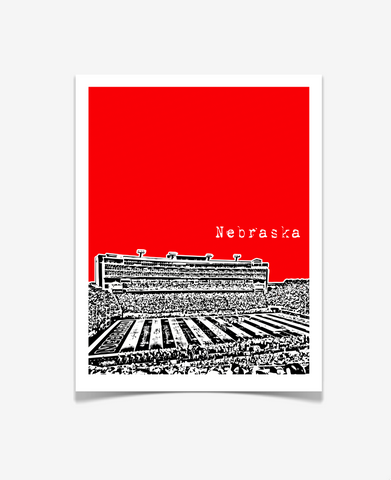 University of Nebraska Memorial Stadium Poster VERSION 1