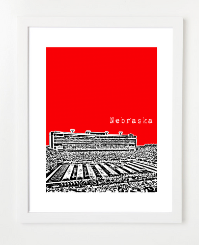 University of Nebraska Memorial Stadium Skyline Art Print and Poster | By BirdAve Posters