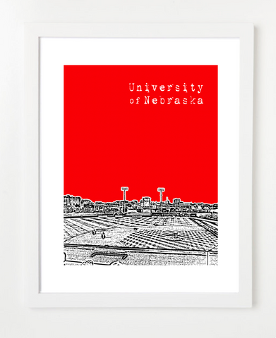 University of Nebraska Baseball Haymarket Park Skyline Art Print and Poster | By BirdAve Posters