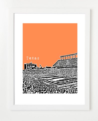 University of Texas at Austin Joe Jamail Field Skyline Art Print and Poster | By BirdAve Posters