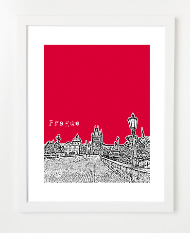Prague Czech Republic Europe VERSION 2 Posters and Skyline Art Prints | By BirdAve