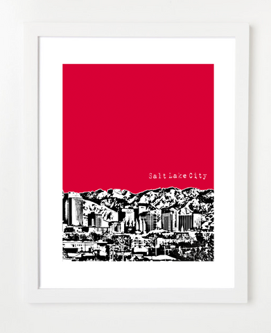 Salt Lake City Utah Skyline Art Print and Poster | By BirdAve Posters