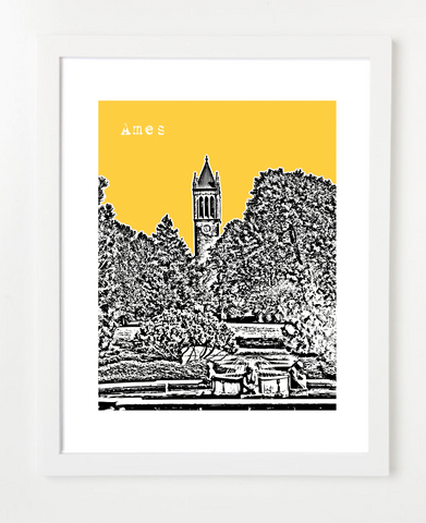 Ames Iowa Iowa State University Cyclones Skyline Art Print and Poster | By BirdAve Posters