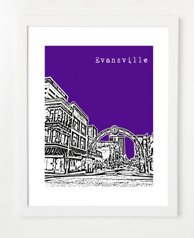 Evansville Indiana VERSION 2 Skyline Art Print and Poster | By BirdAve Posters