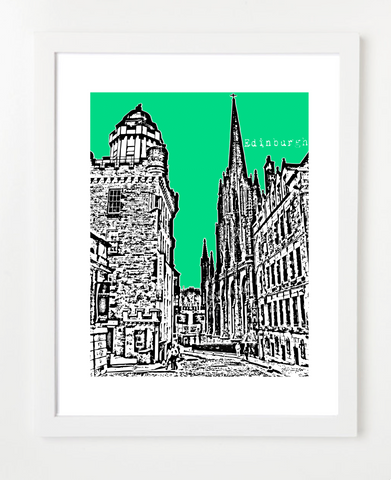 Edinburgh Scotland Europe VERSION 3 Posters and Skyline Art Prints | By BirdAve