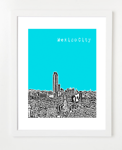Mexico City  VERSION 1 Posters and Skyline Art Prints | By BirdAve