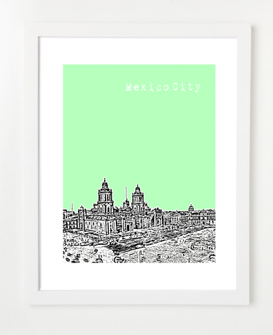 Mexico City Mexico VERSION 2 Posters and Skyline Art Prints | By BirdAve