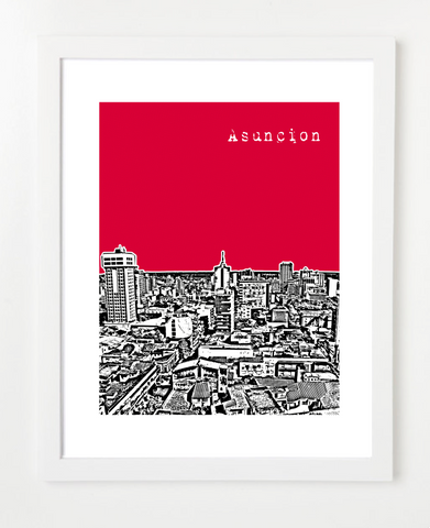 Asuncion Paraguay Skyline Art Print and Poster | By BirdAve Posters