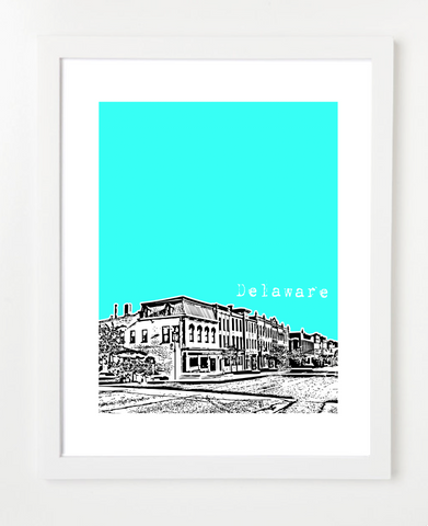 Delaware Ohio Skyline Art Print and Poster | By BirdAve Posters