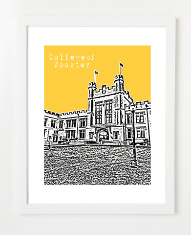 College of Wooster Skyline Art Print and Poster | By BirdAve Posters