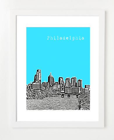 Philadelphia Pennsylvania Schuylkill River Skyline Art Print and Poster | By BirdAve Posters