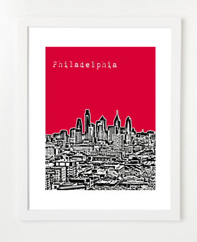 Philadelphia Pennsylvania City Skyline Art Print and Poster | By BirdAve Posters