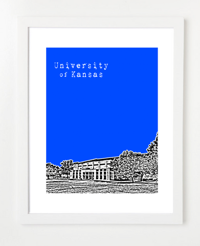 University of Kansas Allen Fieldhouse Skyline Art Print and Poster | By BirdAve Posters