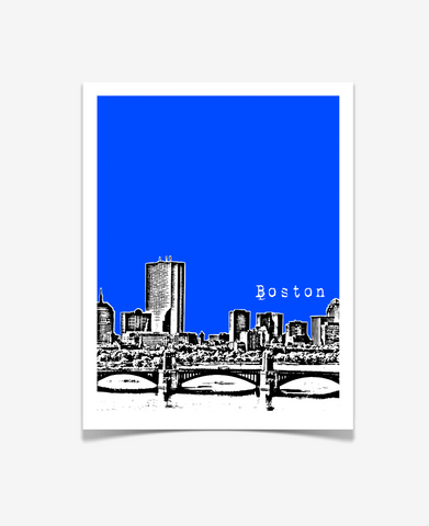 Boston Massachusetts Poster - Longfellow Bridge View - VERSION 4