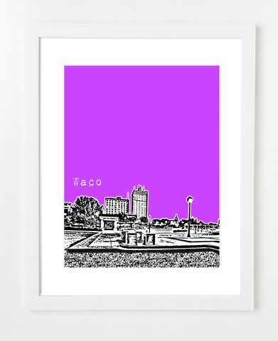 Waco Texas Skyline Art Print and Poster | By BirdAve Posters