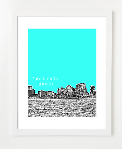 West Palm Beach Florida Skyline Art Print and Poster | By BirdAve Posters