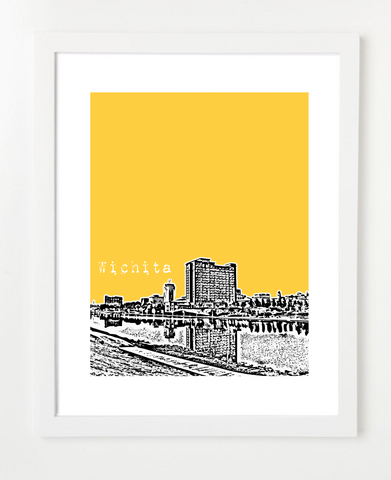 Wichita Kansas USA Skyline Art Print and Poster | By BirdAve Posters