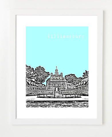 Williamsburg Virginia Skyline Art Print and Poster | By BirdAve Posters