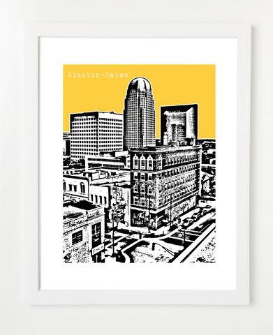 Winston Salem North Carolina Skyline Art Print and Poster | By BirdAve Posters