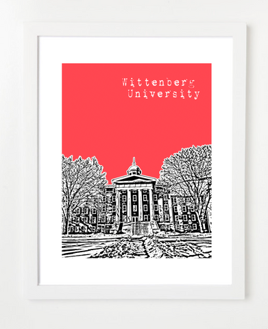 Springfield Ohio Wittenberg University Skyline Art Print and Poster | By BirdAve Posters