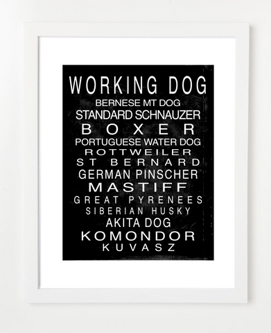 Working Dog Breed Art Print - Dog Art - Pet Prints