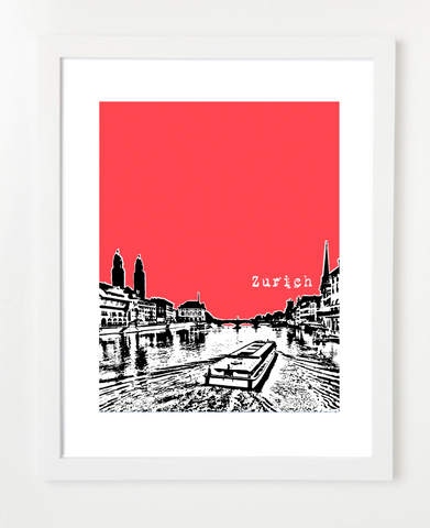Zurich Switzerland Europe Posters and Skyline Art Prints | By BirdAve