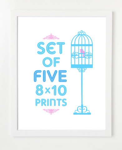 Bundle - Set of Five Prints - Pick Your Prints and Colors - 8x10