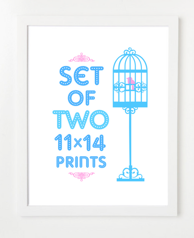 Bundle - Set of Two Prints - Pick Your Prints and Colors - 11x14