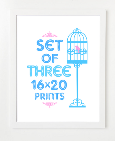 Bundle - Set of Three Prints - Pick Your Prints and Colors - 16x20