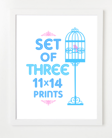 Bundle - Set of Three Prints - Pick Your Prints and Colors - 11x14