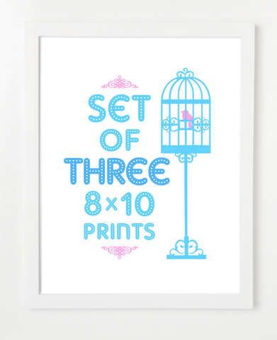 Bundle - Set of Three Prints - Pick Your Prints and Colors - 8x10