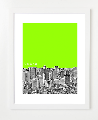 Osaka Japan Asia VERSION 2 Posters and Skyline Art Prints | By BirdAve