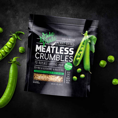 noble plate meatless crumbles, vegan meat, tvp, texture vegetable protein, textured pea protein, vegan ground meat replacement