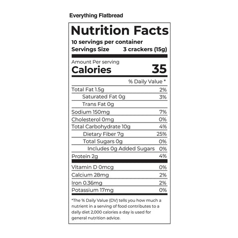 fiber gourmet everything flatbread cracker nutritional facts
