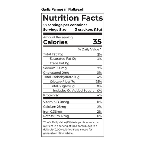 fiber gourmet garlic parmesan flatbread cracker nutritional facts