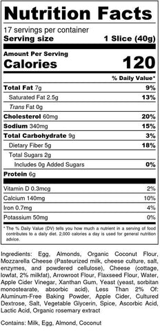 Oliver friendly foods, keto bread, nutritional facts