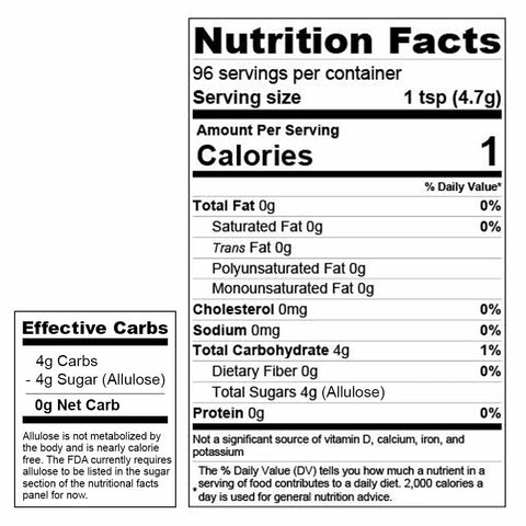 Wholesome provisions, keto sweetener, allulose, sugar substitute, nutritional facts