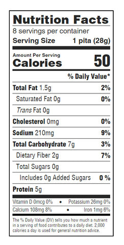 josephs mini pita nutritional facts