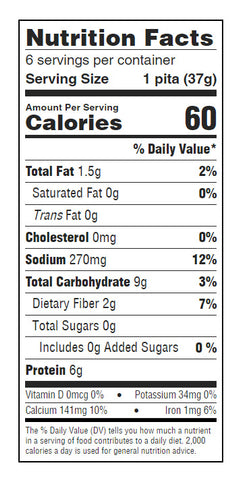 josephs pita nutritional facts