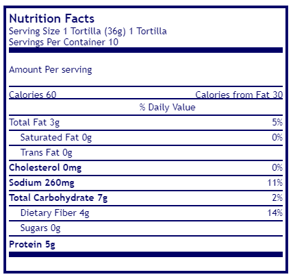 Mama lupe's, low carb tortilla, keto tortilla, nutritional facts