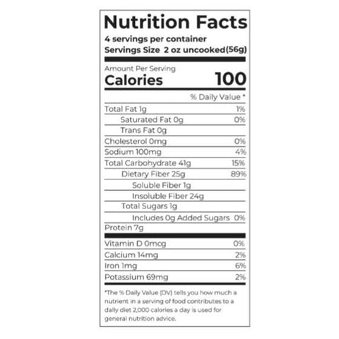 fiber gourmet pasta nutritional facts
