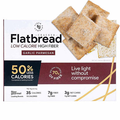 Garlic Parmesan Low Carb Crackers - High Fiber Flatbread Crackers, Vegetarian, Kosher