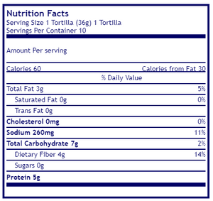 Mama lupe's, low carb tortilla, keto tortilla, high fiber tortilla, nutritional facts