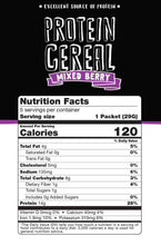 Wholesome provisions, protein cereal, low carb cereal, mixed berry, nutritional facts