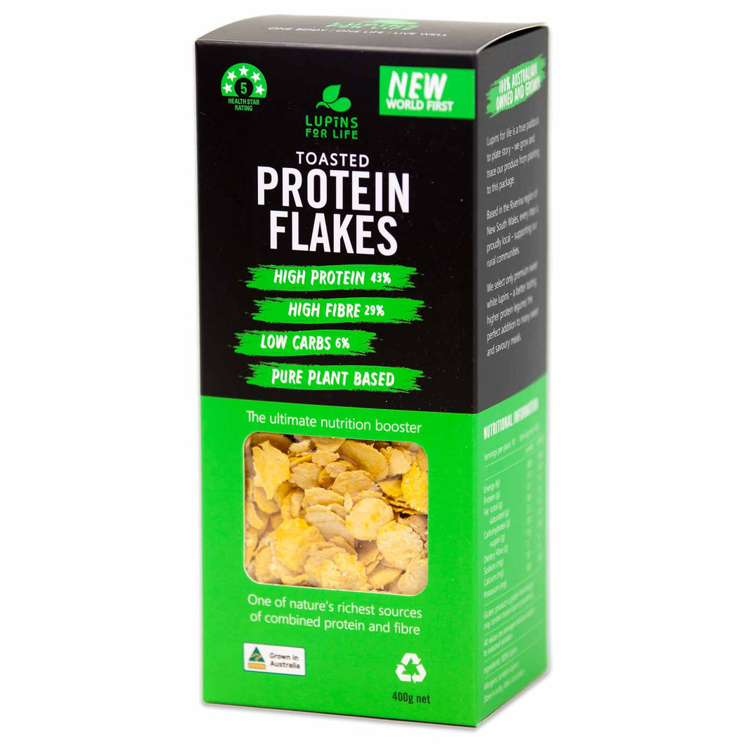 Lupin Toasted Flakes - Australian Made Lupin Cereal, Gluten Free, Low Carb, High Protein, Non GMO