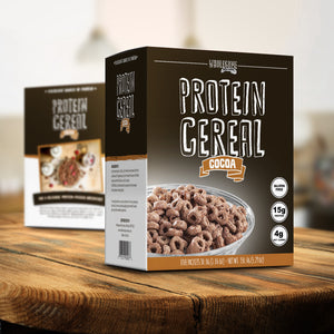 Wholesome provisions, protein cereal, cocoa, chocolate