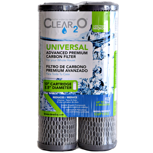 Clear2O® Advanced Premium Carbon Universal Filter Standard Capacity Whole House & RV Water Filter - 2 Filters included - CUF1252